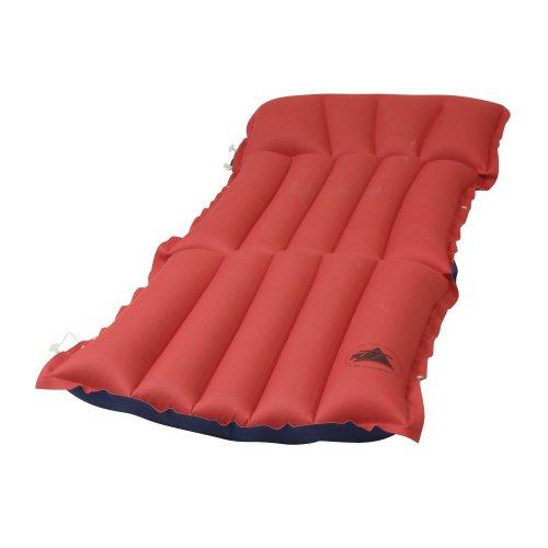 10T Ruby Sit+Lie Baumwoll-Tube-Matratze für 1 Person 186x60x13cm Sitz-Liege Luftmatratze Luftbett Campingmatte Strand-Matratze mit Aussenbezug aus Baumwolle im rot - blauen Retro Design
