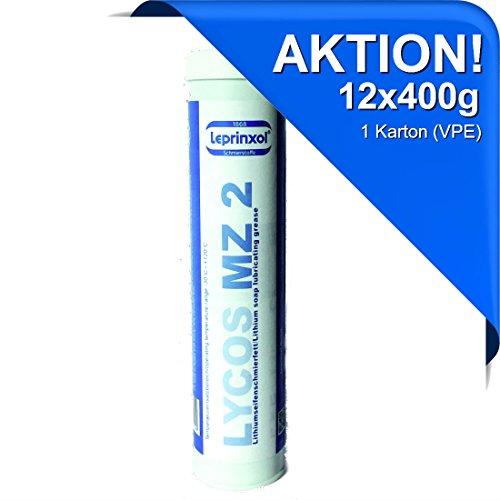 12x LYCOS MZ 2 LITHIUM MEHRZWECKFETT KARTUSCHE 400g für hochwertige Langzeitschmierung im Kfz-Bereich. Speziell für Handhebelfettpressen und Nippelschmierung. Wälz- und Gleitlagerfett.