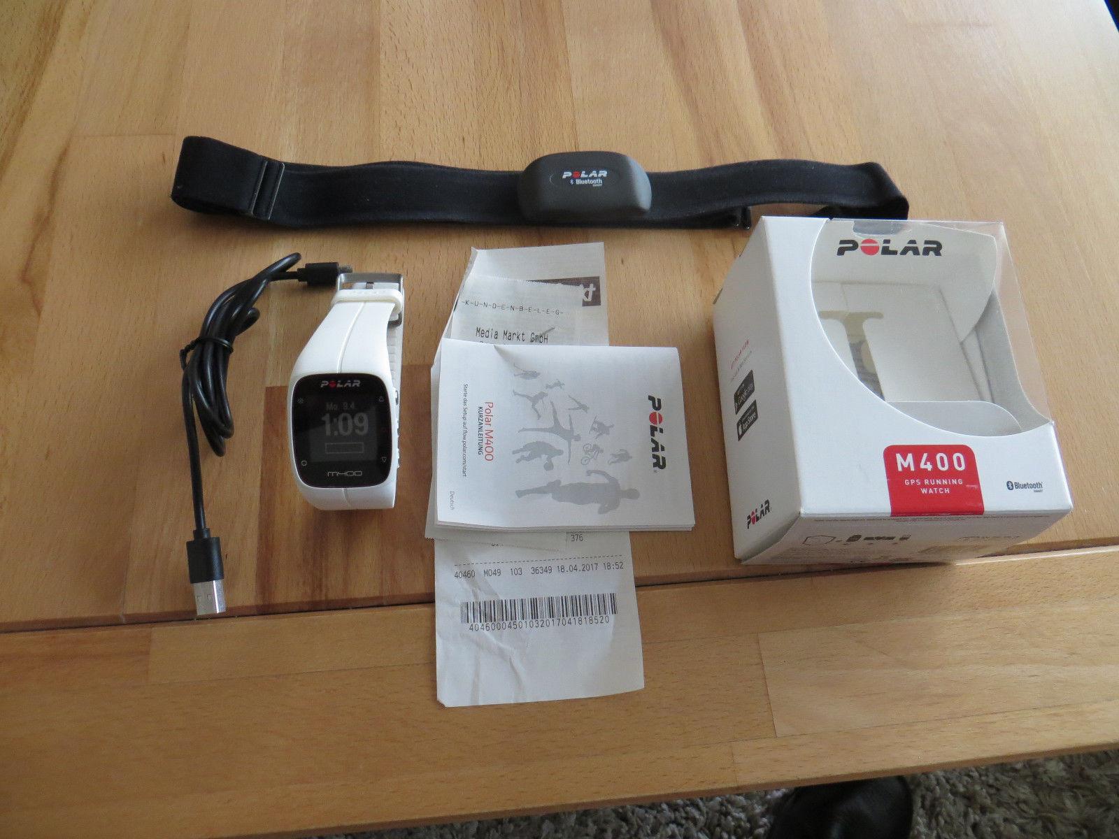 Polar M400, weiß, mit Brustgurt GPS Sportuhr, Restgarantie und wenig genutzt!