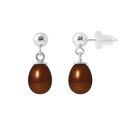 Pearls & Colors Ohrhänger 9Karat (375) Weißgold Süßwasser-Zuchtperle am-9boc 004p78b-cho
