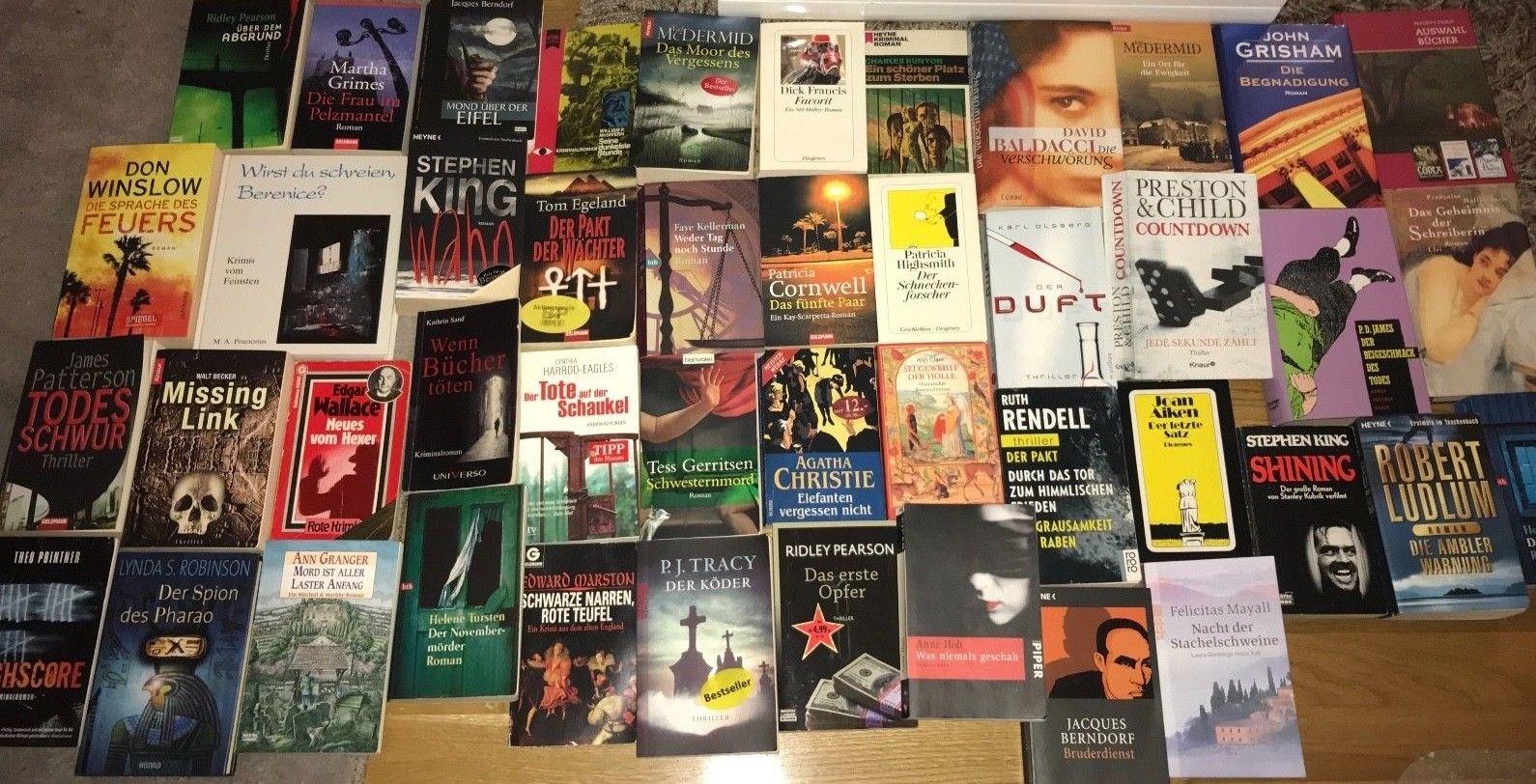 Büchersammlung 45 Stk. Romane Buchpaket Nur Spannung Thriller Krimi Konvolut TOP