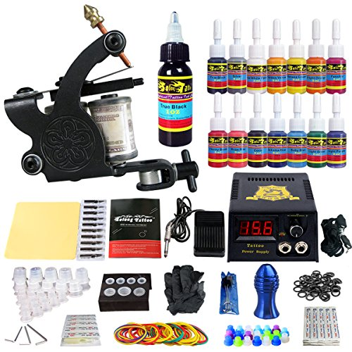 Solong Tattoo® Profi Komplett Tattoomaschine Set 1 Tattoo Maschine Guns 14 Farben/Inks Tinte Nadel Tattoo maschine Set Kit TK102