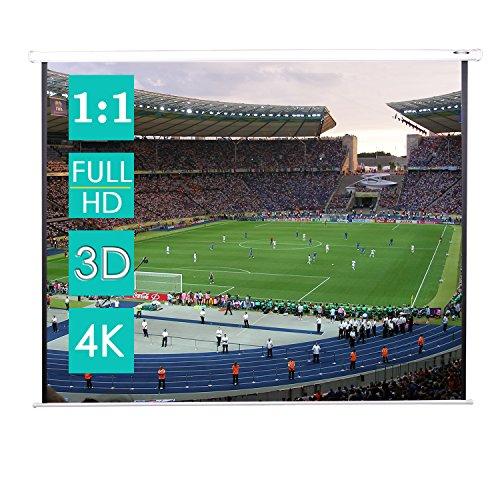 CCLIFE Beamer leinwand Format 1:1 Rollo für Heimkino Business Fußballstadion als Full-HD und 3D-Leinwand/2 jährliche Garantie 203x203/178x178/152x152cm, Größe:178 x 178 cm