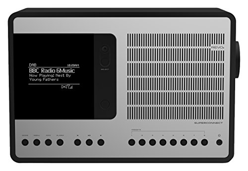 Revo SuperConnect Internet-/DAB+ Radio (Internet/DAB+/DAB/UKW,Spotify,WLAN,Aux In,Cinch-Out,Kopfhörer Ausgang,inkl. Netzteil) mattschwarz-silber