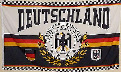 Fahne Flagge XXL Lorbeerkranz Deutschland 4 Sterne & Adler 2,5 x 1,5 Meter Neu