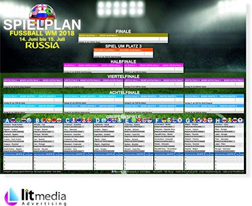 litmedia WM-Planer Spielplan Poster Plakat Spielplan alle Spiel DIN A3 Fanartikel Deutschland für Fußball Fussball Weltmeisterschaft Russland 2018