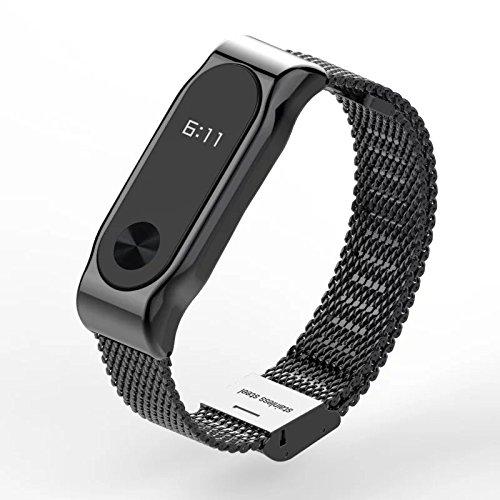 Xiaomi Mi Band 2 Fitnessarmband mit Herzfrequenzmessung, Armband: Edelstahl Schwarz, inkl. Wechselarmband: Schwarz-Silikon