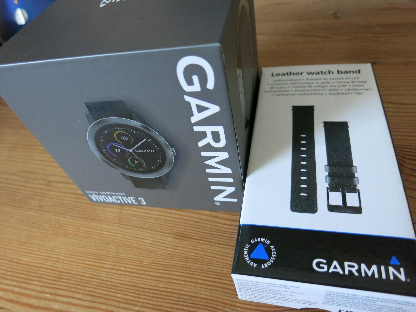 Garmin Vivoactive 3 schwarz GPS Sportuhr Smartwatch neuwertig + Lederarmband