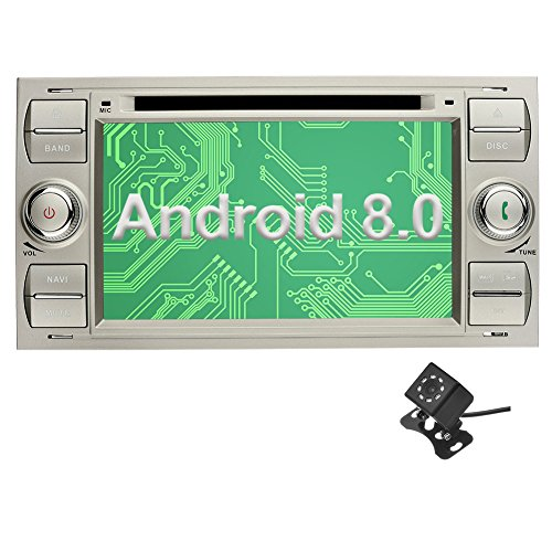 Ohok 7 Zoll Bildschirm 2 Din Autoradio Android 8.0.0 Oreo Octa Core 4G+32G Radio mit Navi Moniceiver DVD GPS Navigation Unterstützt Bluetooth WLAN DAB+ OBD2 für Ford C-Max/Connect/Fiesta/Focus/Fusion/Galaxy/Kuga S-Max/Transit Silber mit Klein-Rückfahrkame