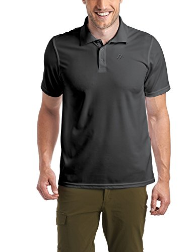 Maier Sports Herren Polo 1/2 Arm T-shirt, black, Gr. L