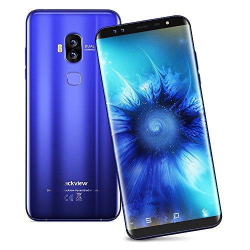 Blackview S8 - 4G Smartphone, Vier SONY Kameras , 5.7 Zoll 18:9 HD+ Display, Android 7.0, MTK6750T 1.5GHz Octa-Core, 4GB RAM 64GB ROM, 3180mAh mit Schnellladung, Schnell Fingerprintsensor ID, Handy ohne Vertrag, Dual SIM Dual Standby, GPS OTG (Blau)