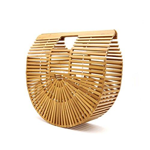 Luxus Bambus Handtasche,High Fashion Strandtasche,Handgefertigt Korbtasche für Sommer Urlaub,Damen Bambus Handtasche mit praktischen Grifft,Kleine