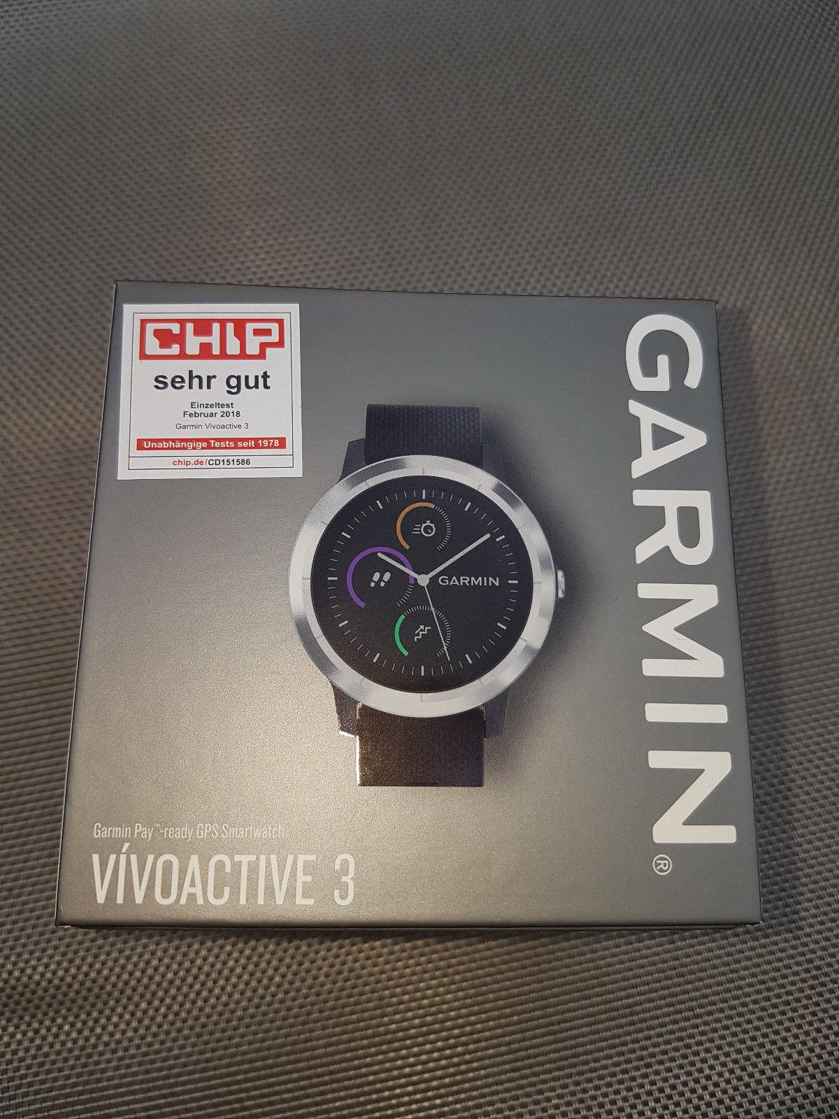 GARMIN VIVOACTIVE 3 SCHWARZ / GRAU SMARTWATCH NEU UNGEÖFFNETE OVP GPS SPORTUHR