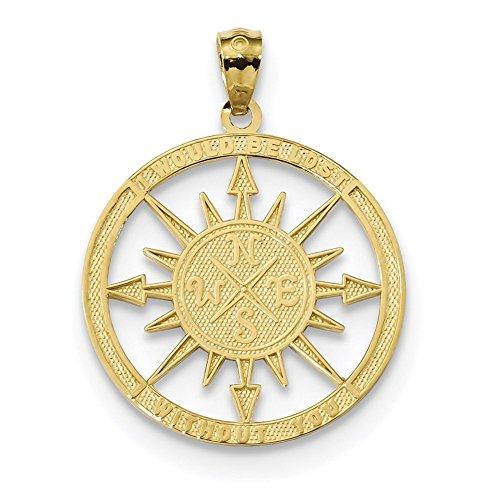 14K Gelb Gold Satin & Poliert Lost ohne sie Anhänger Kompass K6098