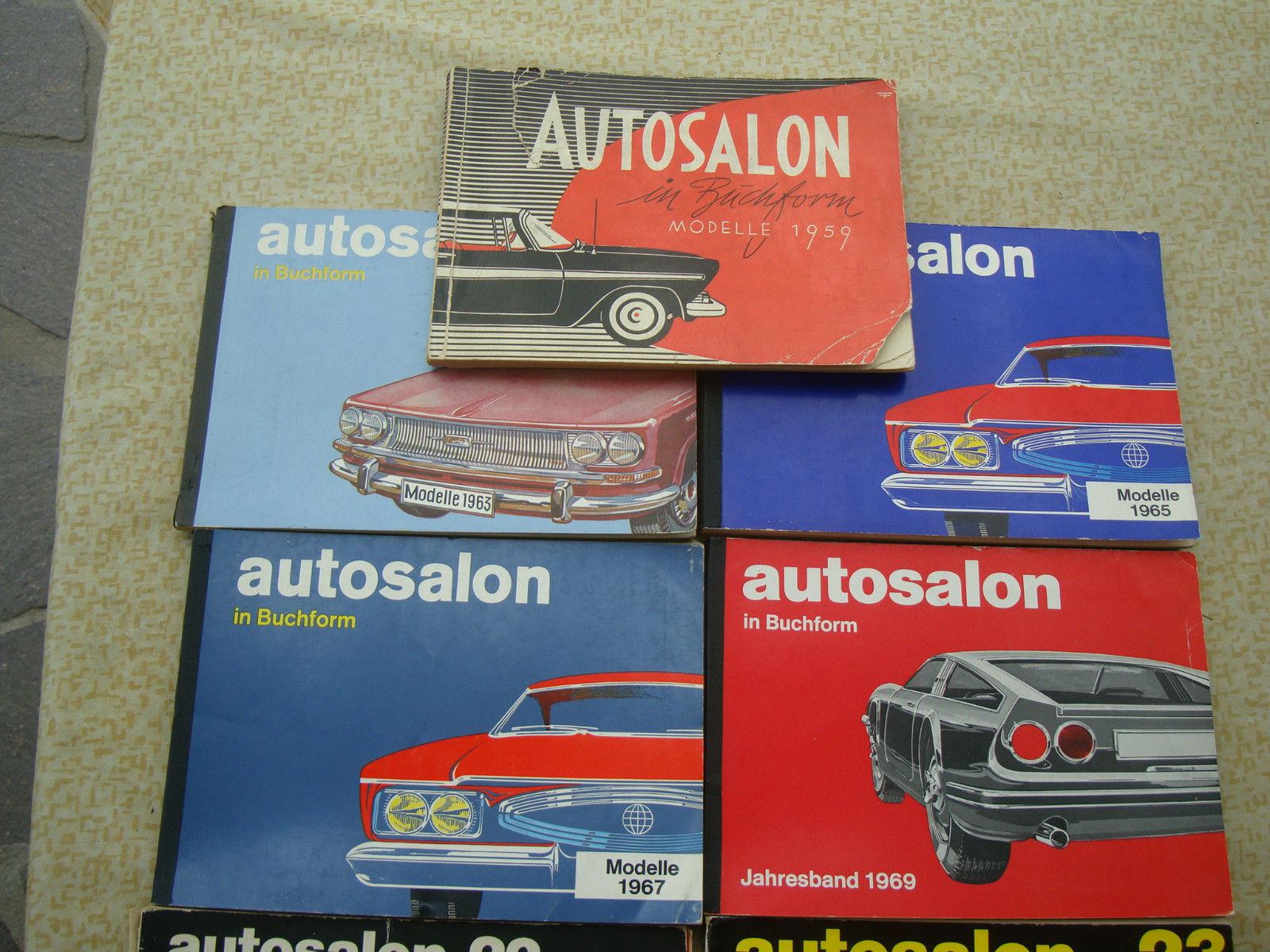 Autokataloge Autosalon in Buchform 11 Hefte von  1959 -  1980