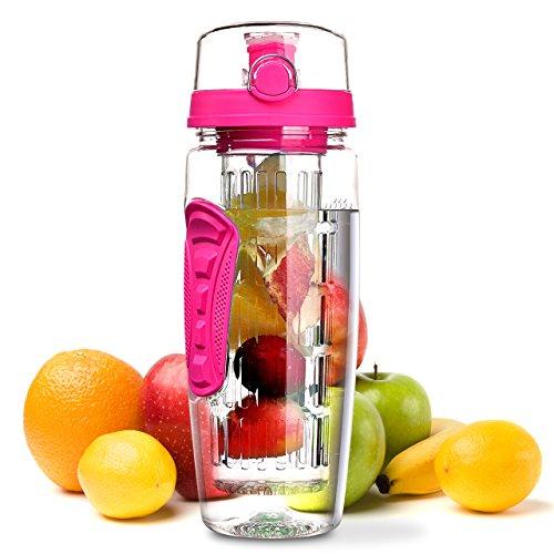 Wasserflasche, Omorc [BPA-frei Tritan] Kunststoff Trinkflasche Sport Flasche 1L Sportflasche Auslaufsicher, Trinkflaschen mit Verschluss & Tragehenkel für Fruchtschorlen/Gemüseschorlen (Pink)