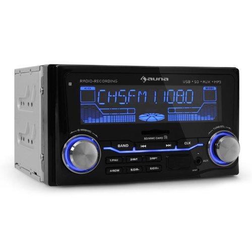 Auna MD-200 Autoradio Doppel-DIN (MP3-fähiger USB- und SD-Slot, Radio-Aufnahme, 4 x 75 Watt PMPO, EQ, Fernbedienung, 3-farbig) schwarz