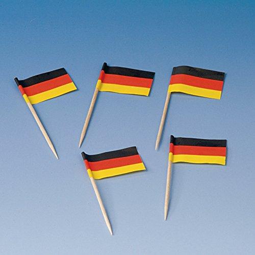 200 Flaggenpicker * DEUTSCHLAND *//Party deutsche Farben Schwarz Rot Gold Gelb Weltmeisterschaft Fussball Holzpicker Deko WM 2014 Germany