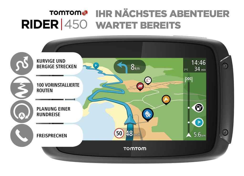 TomTom Rider 450 Weltkarte Motorradnavi m. vorinstallierten Routen Sonderzielen
