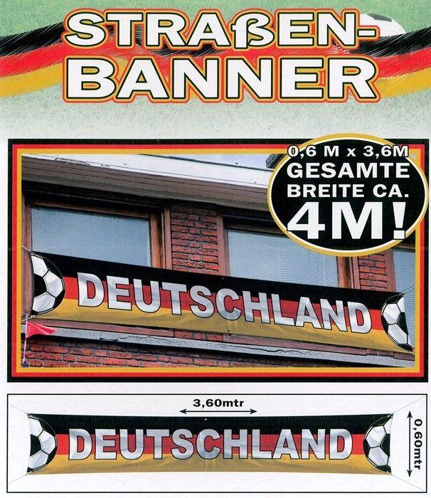 Deutschland Straßen BANNER Fahne XXL ca.360cm x 60cm EM WM Party Garten Balkon