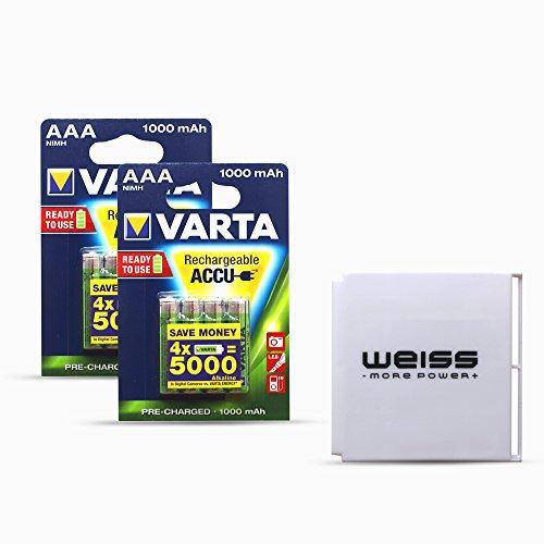 VARTA Rechargeable ACCU AAA/Micro Akku ReadyToUse 1000mAh und WEISS - more power + Akkuschutzbox (2x 4er-Blister + 1x Akkuschutzbox)