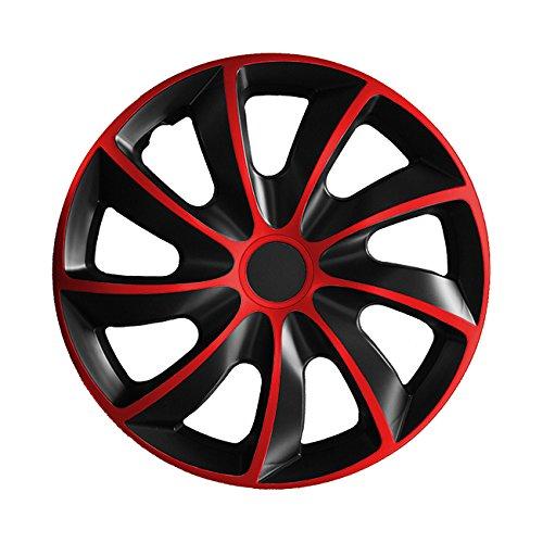 (Farbe & Größe wählbar) 14 Zoll Radkappen, Radzierblenden Quad Bicolor (Schwarz/Rot) passend für fast alle Fahrzeugtypen (universal)