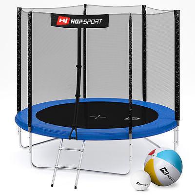 Hop-Sport Gartentrampolin 244cm 2,44m Trampolin Leiter Wetterplane Bodenhaken