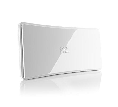 Verstärkte Zimmerantenne im geschwungenen Design von One For All - Geeignet für den Empfang von DVB-T & DVB-T2 - Full HD ready - weiß - SV9421