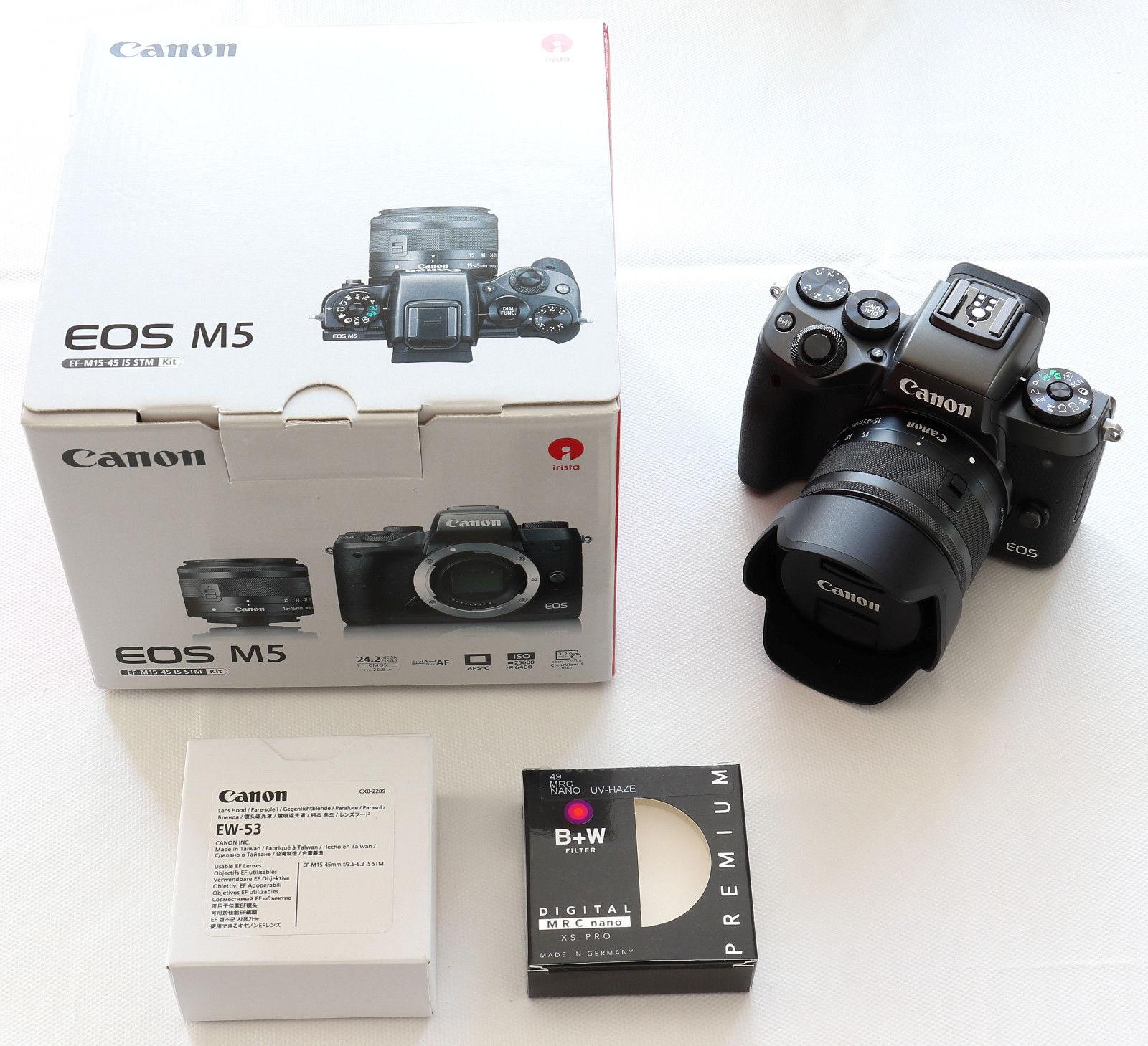 Canon EOS M5 inkl. EF-M 15-45mm 1:3,5-6,3 IS STM Objektiv (+Restgarantie)