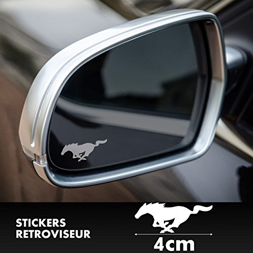2x Ford Mustang GT Logo Spiegelaufkleber Milchglasfolie Frostfolie. Aufkleber ohne Hintergrund von SUPERSTICKI® aus Hochleistungsfolie für alle glatten Flächen UV und Waschanlagenfest Tuning Profi Qualität Auto KFZ Scheibe Lack Profi-Qualität