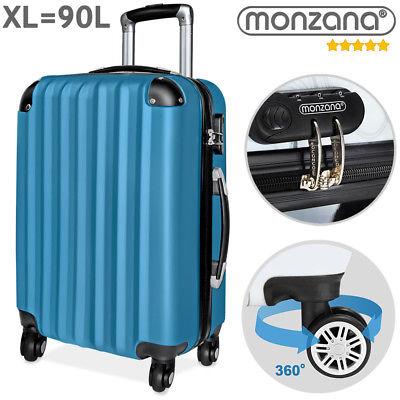 Monzana® Hartschalen Koffer Trolley 4 Rollen Reisekoffer Gepäck Schloss Blau ABS