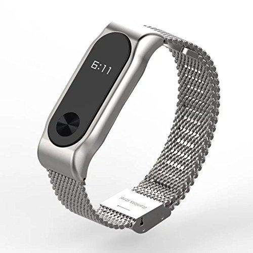 Xiaomi Mi Band 2 Fitnessarmband mit Herzfrequenzmessung, Armband: Edelstahl Silber, inkl. Wechselarmband: Schwarz-Silikon