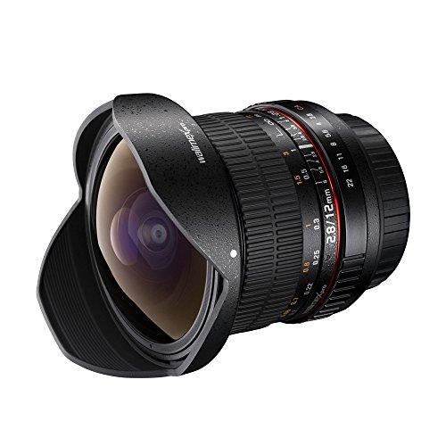Walimex Pro 12mm 1:2,8 Fish-Eye Objektiv DSLR für Canon M Bajonett schwarz (manueller Fokus, für Vollformat Sensor gerechnet, IF, Nano Coating, mit abnehmbarer Gegenlichtblende)