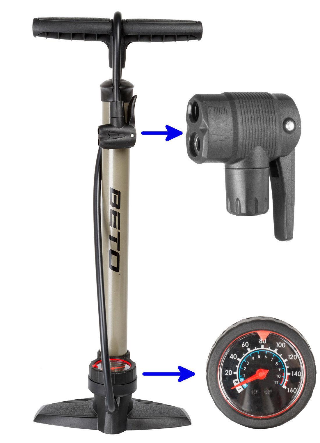 BETO Standpumpe mit Manometer bis 11 bar Luftpumpe Fahrradpumpe f. alle Ventile