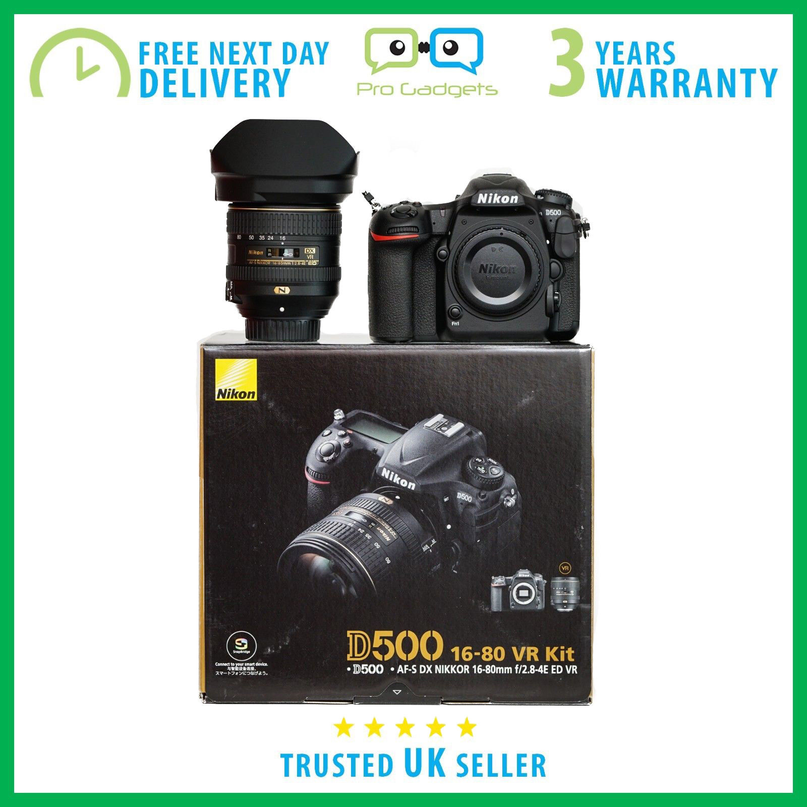 New Nikon D500 20.9MP DX DSLR Camera With 16-80mm VR Lens - 3 Year Warranty