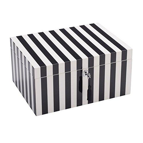 Gift Company - Schmuckbox - Schmuckkasten - Schmuckschatulle - TANG - L - mit Schloss - Stripes - schwarz/weiß