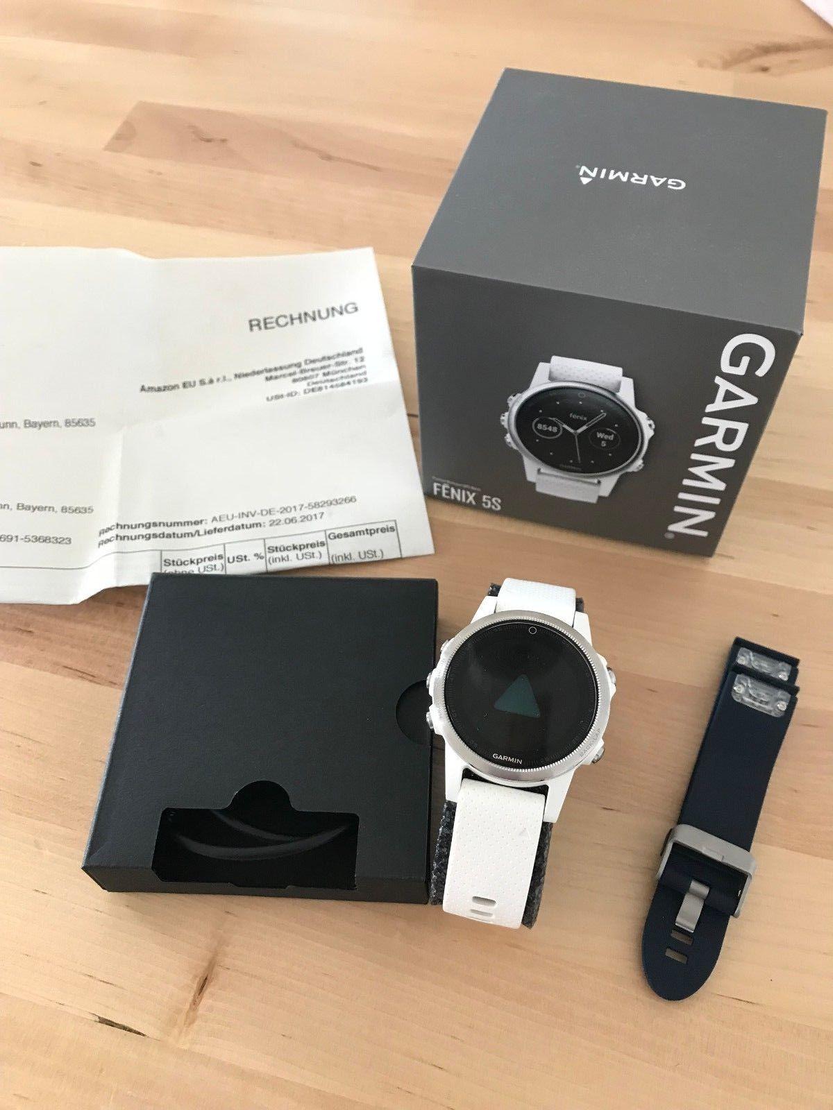 Garmin Fenix 5S silber/weiß & blaues Armband, gebraucht,Top-Zustand! NP 644,99€