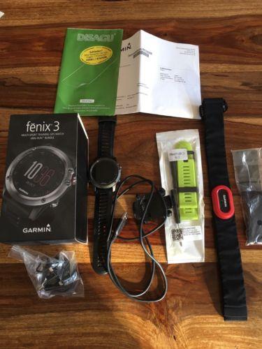 Garmin Fenix 3 HRM-Run Bundle + Zubehör, gebr.