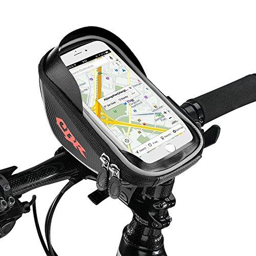 Etmury Fahrradtasche Rahmen,Fahrrad Handy Tasche (Passend bis zu 6.0 Zoll) Sensitive Touch-Screen Wasserdicht Radfahren Vorne Top Tube Rahmen Pouch für Alle Fahrräder (Schwarz)