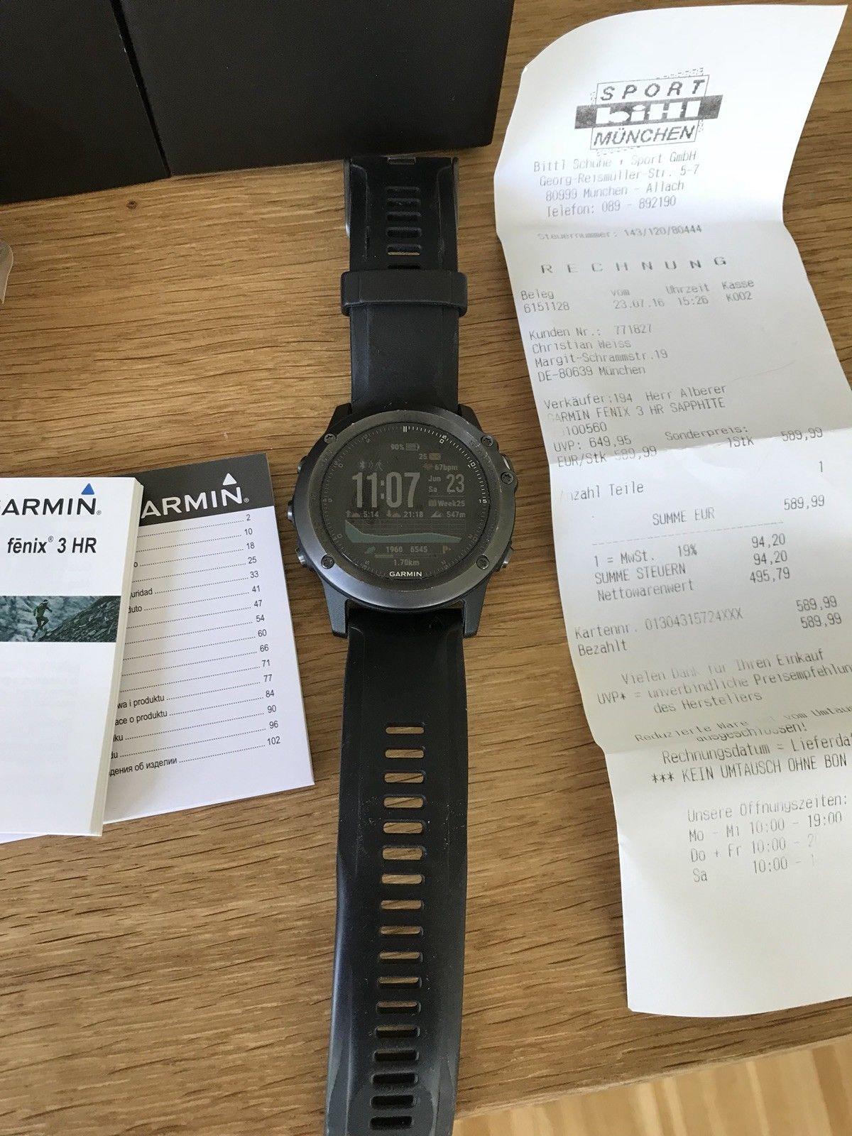 Garmin fenix 3 Saphir HR 1,2 Zoll GPS-Multisportuhr mit Schwarzem Silikonarmband