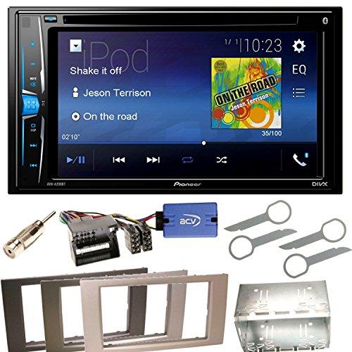 Pioneer AVH-A200BT Bluetooth USB MP3 Autoradio iPhone iPod Doppel Din CD DVD Touchscreen UKW DivX Einbauset für Ford Focus Fusion Galaxy S-Max, Farbe der Radioblende:Anthrazit