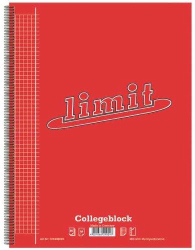 Collegeblock Limit A4+, Lin 28, kariert, Rand links, 80 Bl.