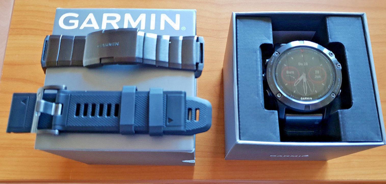 Fenix 5x Saphir GPS Multisport mit 2 x Edelstahlarmband - Restgarantie - top