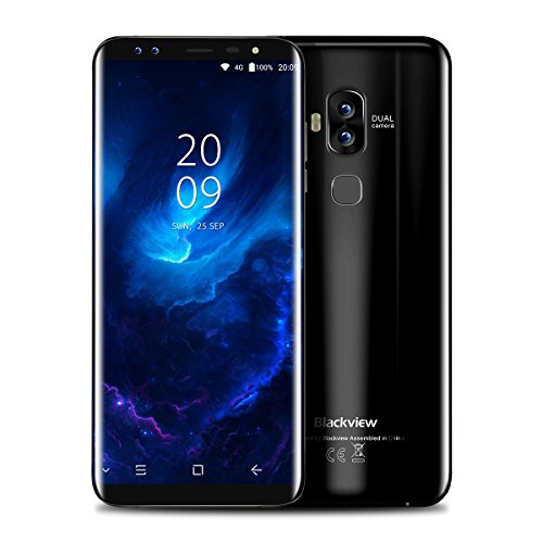 Blackview S8 - 4G Smartphone, Vier SONY Kameras , 5.7 Zoll 18:9 HD+ Display, Android 7.0, MTK6750T 1.5GHz Octa-Core, 4GB RAM 64GB ROM, 3180mAh mit Schnellladung, Schnell Fingerprintsensor ID, Handy ohne Vertrag, Dual SIM Dual Standby, GPS OTG (Schwarz)