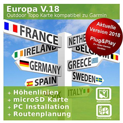 Europa V.18 - Profi Outdoor Topo Karte kompatibel zu Garmin GPSMap 64, GPSMap 64s, GPSMap 64st