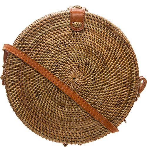 Hey May Rattan Tasche Rund aus Stroh Sommer Korbtasche Crossbody Umhängetasche für Damen Hochwertige Qualität