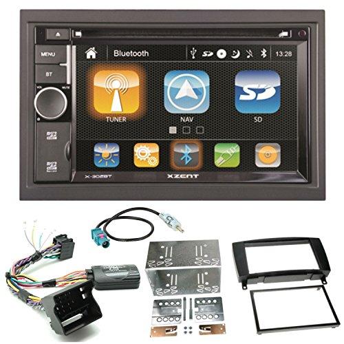 Xzent X-302BT Naviceiver Navigation Bluetooth CD DVD USB MP3 AUX Autoradio 2-DIN Einbauset für Mercedes CLK W209 Facelift