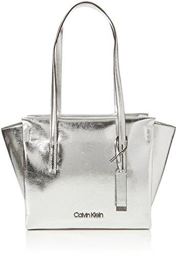 Calvin Klein Jeans Damen Frame Medium Shopper M Tote, Silber (Metallic), 14x30x44 cm