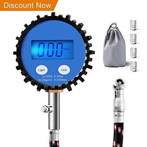 Evaduol Reifendruck Prüfer, Digitale Manometer für Schwere Fahrzeuge mit Schlauch, Alle Fahrzeugzubehör für 0,1 Bildschirmauflösung - 150PSI