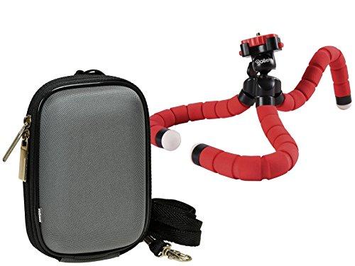 Foto Kamera Tasche Memobox grau Set mit Reise Stativ Rollei Monkey red